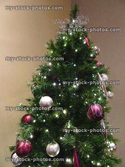 stock image of fake christmas tree white fairylights baubles hanging decorations - White Fake Christmas Tree