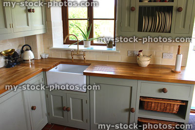 Stock photo of a country kitchen with Belfast sink.