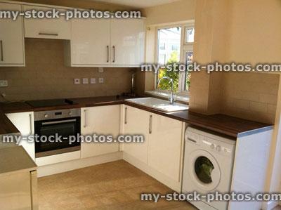 Modern Kitchen Cabinets With Glossy White Doors Washing Machine