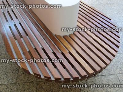 Excellent Modern Curved Concrete Wooden Bench Slats Funky Trendy Beatyapartments Chair Design Images Beatyapartmentscom